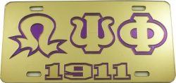 View Buying Options For The Omega Psi Phi 1911 Lightning Q Outline Mirror License Plate