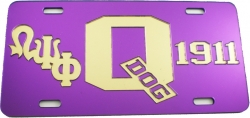 View Buying Options For The Omega Psi Phi Big Q Dog 1911 Mirror License Plate