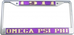 View Buying Options For The Omega Psi Phi 1911 License Plate Frame