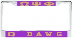 View Buying Options For The Omega Psi Phi Q Dog License Plate Frame