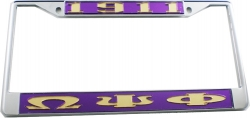 View Buying Options For The Omega Psi Phi 1911 Big Letter License Plate Frame