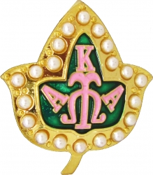 View Buying Options For The Alpha Kappa Alpha 3D 20 Pearl Ivy Leaf Lapel Pin
