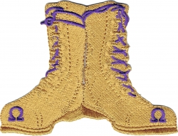 View Buying Options For The Omega Psi Phi Gold Boots Iron-On Patch