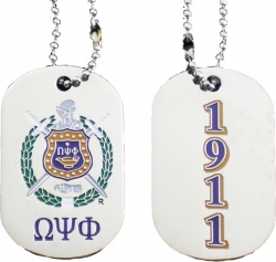 View Buying Options For The Omega Psi Phi 1911 Double Sided Dog Tag