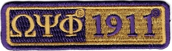 View Buying Options For The Omega Psi Phi 1911 Split Bar Iron-On Patch