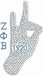 View Buying Options For The Zeta Phi Beta Hand Sign Rhinestud Heat Transfer