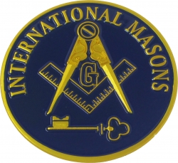 View Buying Options For The International Masons Blue House Symbol Round Car Emblem