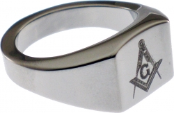 View Buying Options For The Mason Square & Compass Laser Etched Symbol Mens Ring