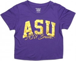 View Buying Options For The Big Boy Alcorn State Braves Foil Cropped Ladies Tee