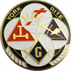 View Buying Options For The York Rite Symbols Etched Round Car Emblem