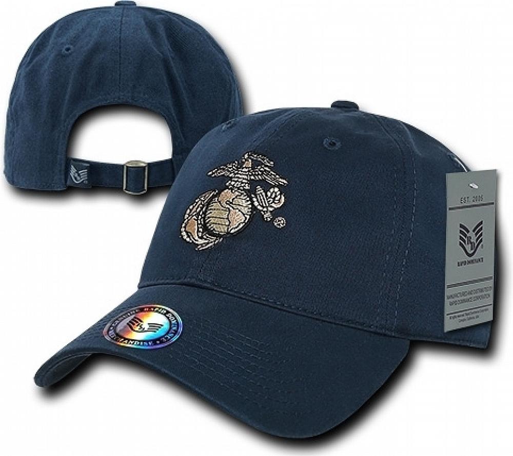 RapDom-Marines-Globe-amp-Anchor-The-Lieutenant-Military-Mens-Cap-Navy-Blue-A miniature 2