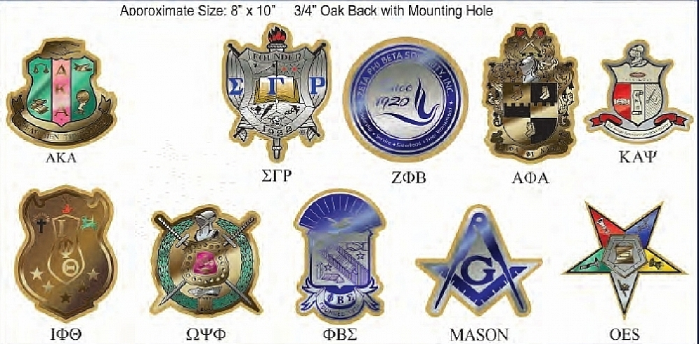 Greek Or Mason Symbol Crest Cut-Out Domed Wood Wall Wall Wall Plaque 00f89e