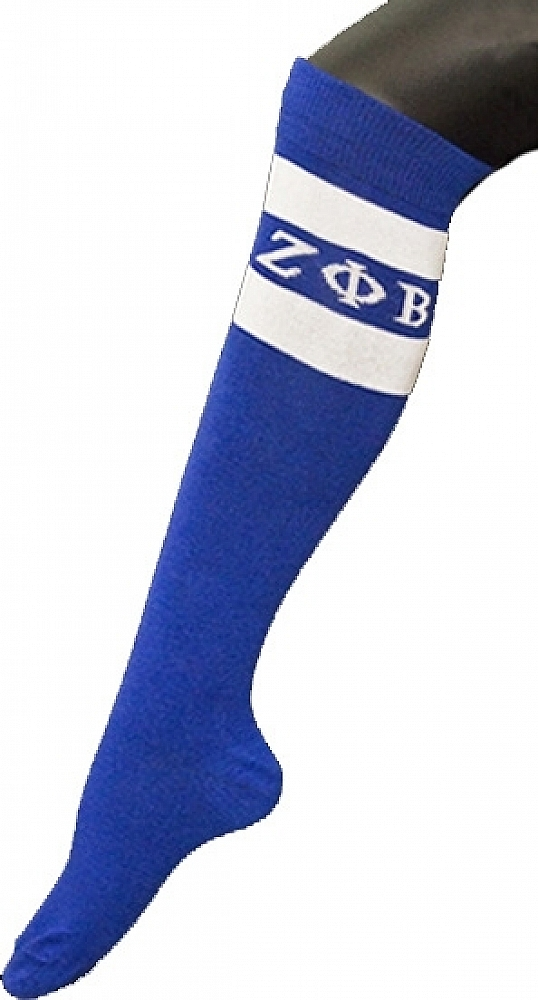 Blue - 5-10 Zeta Phi Beta Greekfeet Striped Pair Knee High Socks