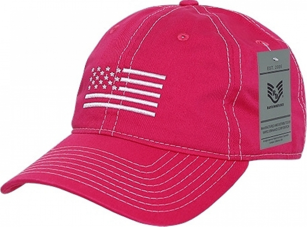0693ce6bac86e Rapid Dominance RapDom White US Flag Graphic Relaxed Mens Cap  Hot Pink -  Adjustable